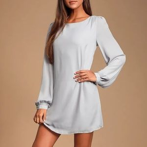 Lulu's light grey long sleeve mini shift dress